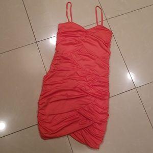 H&M Peach Ruched Mini Dress